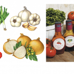 Vegetable illustrations of garlic, Vidalia onions, sun-dried tomatoes, scallions and Asian cabbage used on packaging.