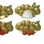Stuffed olive illustrations for Castella Imports.