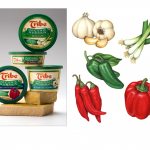 Vegetable illustrations of garlic, green onion, scallion, jalapeno, chili, and red peppers for Tribe Hummus.