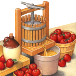 Scene of an apple cider press with a jug and bushel baskets of apples.