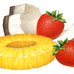 Two strawberries, one pineapple ring and one coconut piece