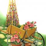 Garden scene with a wheelbarrow, flower trellis, flowers and pots