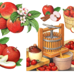 Apples including a bushel basket and a cider press