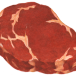 Uncooked boneless beef rib eye steak.