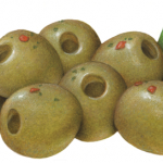 Green pitted olives