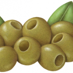 Nine medium green pitted Manzanilla olives