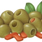 Nine salad olives and pimentos