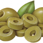 Two whole green olives with a mound of sliced green olives