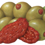 Large green Queen olives stuffed with sundried tomatoes