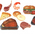 Various food illustrations used for packaging.