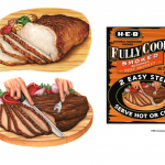 Prepared meat illustrations of beef brisket and smoked pork roast used on packaging for H E B Grocery Company.