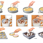 Food preparation illustrations for Krusteaz and Cold Stone Creamery.