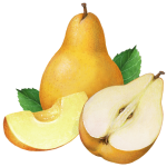 Bartlett pears, one whole, cut half and cut slice with leaves.