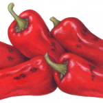 Five roasted red chile peppers