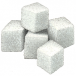 Stack of five sugar cubes