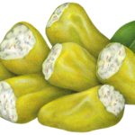 Pepperoncini poppers, which are pepperoncini peppers stuffed with herb cream cheese.