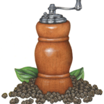 Wooden pepper mill with peppercorns.